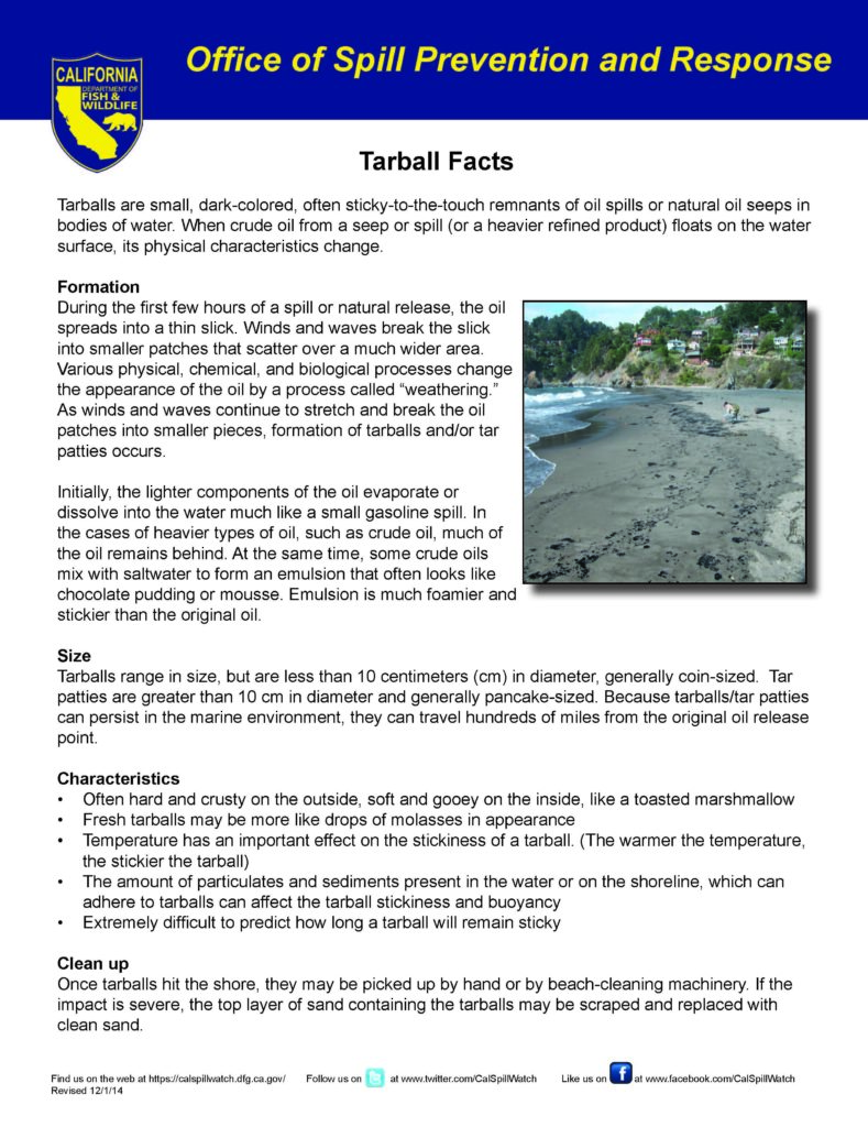 Tar Ball Fact Sheet
