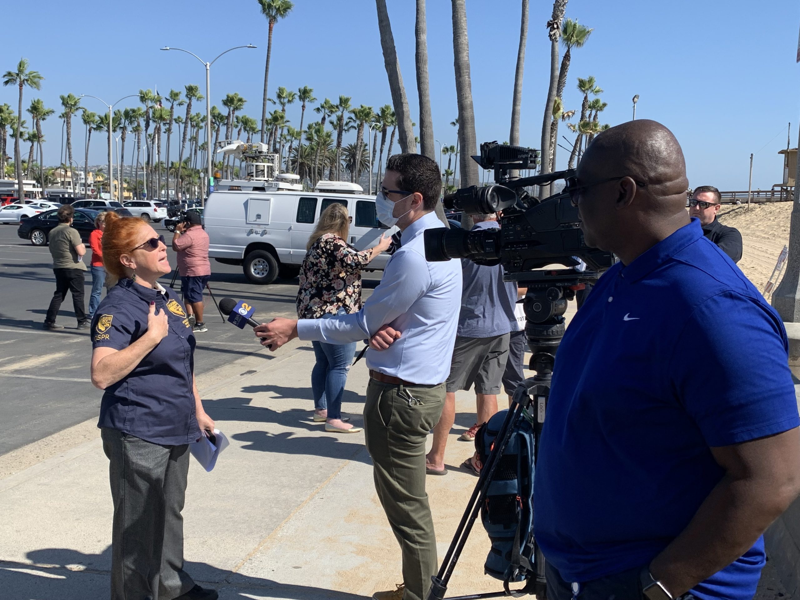 The Coast Guard and California Department of Fish and Wildlife's Office of Spill Prevention and Response provide information about the coastal oil cleanup response and techniques, at The Balboa Pier Municipal in Newport Beach, Calif.